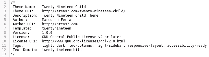 Child Theme Area97.com
